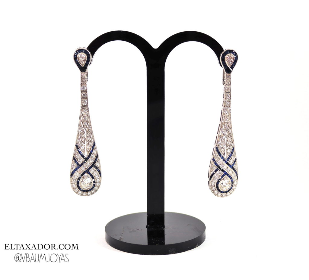 Pendientes de platino con diamantes y zafiros